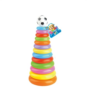 13-story football head rainbow rings